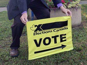An election voting sign is pictured at Woodman Park Community Centre in Brantford, one of the advance polling stations that opened last weekend at the Brantford-Brant riding for the federal election.
