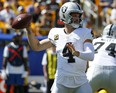 Entering Week 3, Raiders QB Derek Carr leads the NFL in pass yards (817, or 408.5 per game) and is tied for third in completions (62). Getty Images