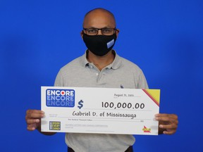 Gabriel D'Souza of Mississauga, $100,000 lottery winner from June 9 draw.