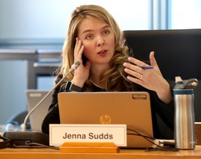 Ottawa Councillor Jenna Sudds during a transit meeting at city hall In Ottawa Wednesday, Feb 19, 2020.