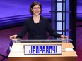 """An undated handout photo of new """"Jeopardy!"""" host Mayim Bialik."""