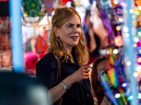"""Actress Nicole Kidman films a scene in a market in Hong Kong from the Amazon Prime Video series """"Expats"""" on Aug. 23, 2021."""
