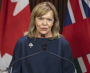 Christine Elliott, Ontario's Minister of Health and Deputy Premier attends an announcement at the Ontario legislature on September 14, 2021.