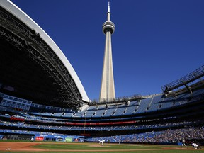 Jose Berrios of the Toronto Blue Jays delivers a pitch to Jorge Polanco of the Minnesota Twins at Rogers Centre on September 19, 2021 in Toronto.