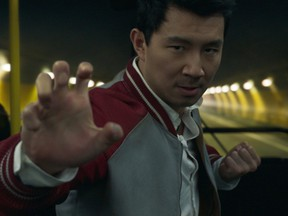 Simu Liu in a scene from Marvel's Shang-Chi and the Legend of the Ten Rings.