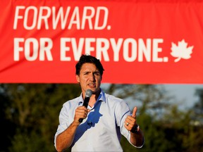 Liberal Prime Minister Justin Trudeau speaks during an election campaign stop in Hamilton, Ont., Sept. 17, 2021.