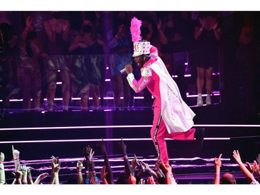 US rapper Lil Nas X performs on stage during the 2021 MTV Video Music Awards at Barclays Center in Brooklyn, New York, September 12, 2021. (Photo by ANGELA  WEISS / AFP)