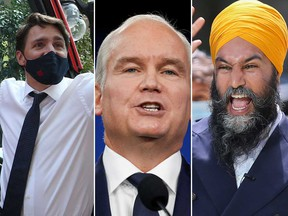 Justin Trudeau, Erin O'Toole and Jagmeet Singh.