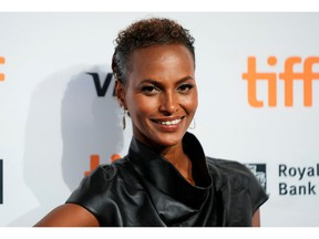 Model Yasmin Warsame poses as she arrives for the premiere of