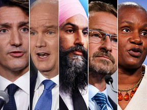 From left, Liberal Leader Justin Trudeau, Conservative Leader Erin O'Toole, NDP Leader Jagmeet Singh, Bloc Quebecois Leader Yves-Francois Blanchet and Green Party Leader Annamie Paul.