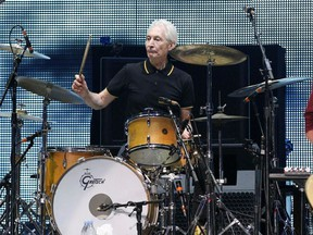 """Charlie Watts of British band The Rolling Stones performs during the opening night of their """"50 & Counting"""" worldwide tour at Staples Center in Los Angeles, California, U.S., May 3, 2013."""