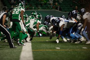 The Saskatchewan Roughriders defence makes a goal line stand against the Toronto Argonauts, stopping John White IV on third and goal from the one on Friday night at Mosaic Stadium in Regina.