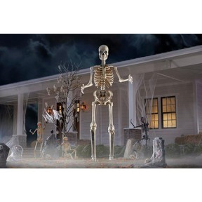Welcome trick or treaters with this 12-foot skeleton with LCD eyes. HOME DEPOT