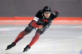 Vincent de Haitre skates in the men's 1500m during the fourth day at the Canadian Long Track Championship.