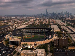 In this aerial view from a drone, Guaranteed Rate Field is seen as Game 4 of the American League Division Series between the White Sox and Astros was postponed due to inclement weather in Chicago on Monday, Oct. 11, 2021.