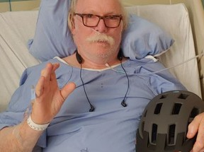 Injured Toronto actor Tedd Dillon is in hospital after being knocked off his bike by a dog.