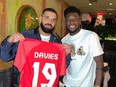 Drake and Alphonso Davies after Canada beat Panama 4-1 in the CONCACAF World Cup Qualifying at BMO Field.