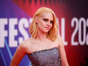 """Actress Kristen Stewart arrives at the premiere for """"Spencer"""" during the BFI film festival in London, Britain October 7, 2021."""