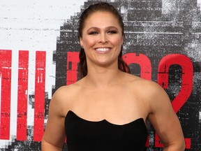Ronda Rousey appears at the premiere of Mile 22 Aug. 10, 2018 in Westwood, Calif.