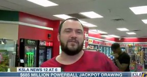 """A wannabe Louisiana lottery winner who told a TV interviewer on a live remote that if he won Monday's $860-million ($685 million US) Powerball he'd be doing two things: """"Well, I'm definitely going to get a new supercharged Mustang with dual exhaust and about five kilos of cocaine. And I'll be good to go."""""""