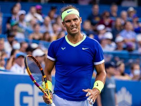 Rafael Nadal of Spain reacts during the Citi Open at Rock Creek Park Tennis Center.