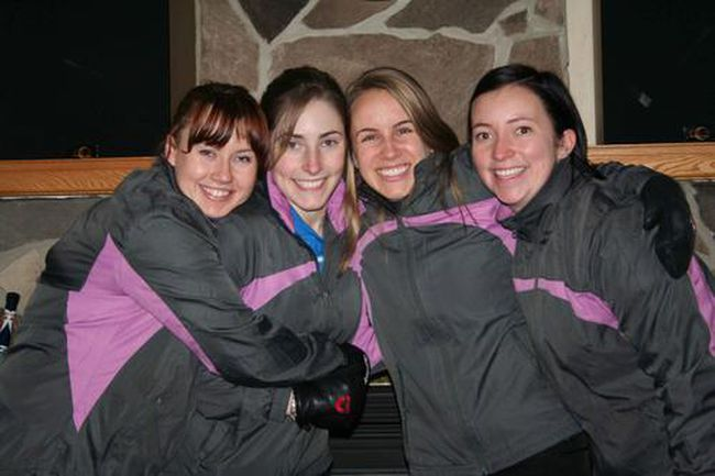 From left, Ainsley Galbraith, second Kim Brown, third Erin Morrissey and skip Lisa Farnell celebrate after winning the regional competition in Gananoque earlier this month. The Loonie Curling Club rink returns to the town for the same event this weekend.