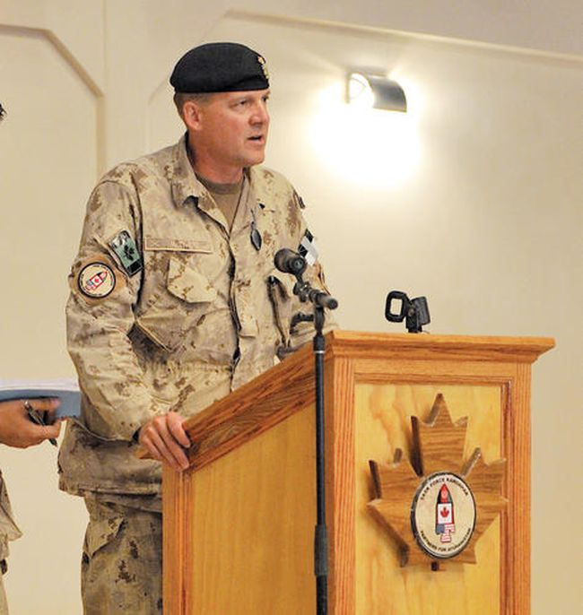 English/AnglaisAR2010-0273-2309 September 2010Kandahar, AfghanistanBrigadier General Dean J. Milner, the new Joint Task Force Afghanistan (JTF-A) Commander, addresses the crowd at New Canada House in Kandahar on 09 September 2010.JTF-Afg is CanadaÕs military contribution to Afghanistan. Canadian operations focus on working with Afghan authorities to improve security, governance, and economic development in the country. Photo by Cpl Keith Wazny, Joint Task Force Kandahar, Afghanistan. Image Tech Roto 9© 2010 DND-MDN Canada