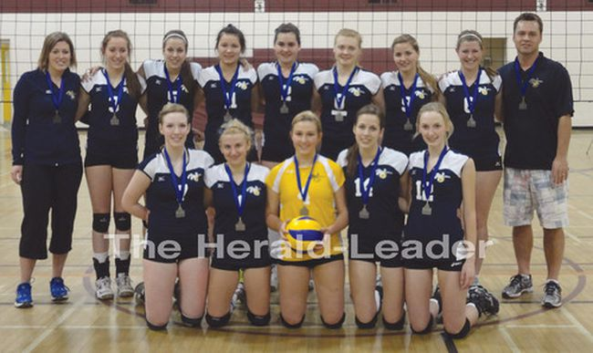 Submitted by Shelley Gosseye - The silver medalist Westman volleyball club poses after the provincial tournament in Brandon on Saturday.