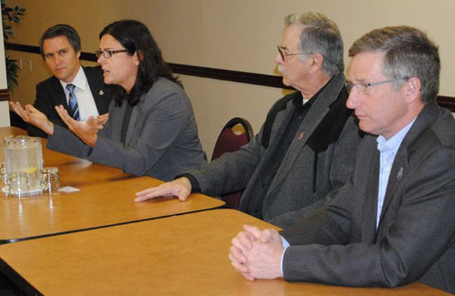 Local MLAs Cameron Friesen (Morden-Winkler), Cliff Graydon (Emerson), Blaine Pedersen (Midland) hosted a round-table discussion with PC finance critic Heather Stefanson to hear local concerns.