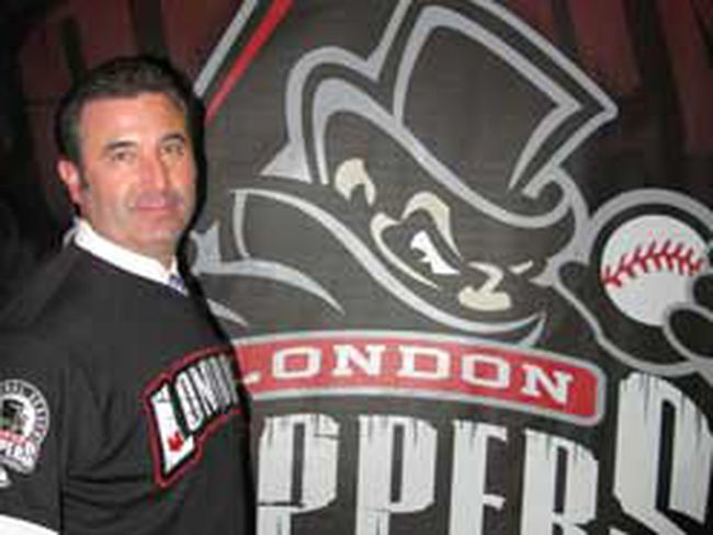 David Martin, president and general manager of the new Frontier League team the London Rippers, stands in front of a poster bearing the team's name, which sparked an immediate controversy on the Internet over its resemblance to serial killer Jack The Ripper. (JOE BELANGER, The London Free Press)
