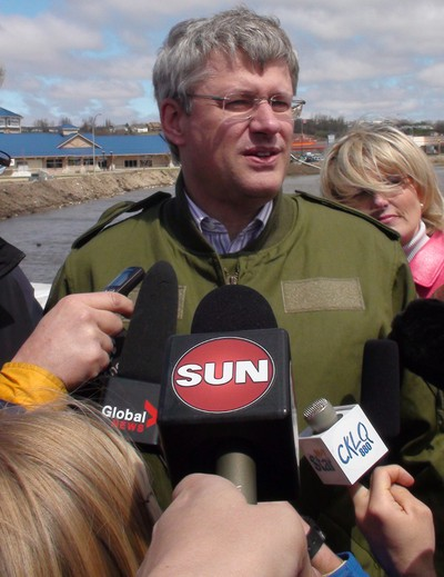 Prime Minister Stephen Harper addresses media in Brandon, Man., on Wednesday, May 11, 2011. The Assiniboine River is threatening many homes and businesses in the Manitob's second largest city. (Jillian Austin, Winnipeg Sun)