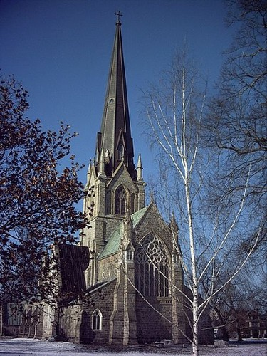 National Historic Site: Christ Church Cathedral. Province: New Brunswick. Year recognized: 1980. Quick fact: Built by the Anglicans in 1845, this is a replica of the Gothic-styled St. Mary's Church in Snettisham, England. (Wikipedia/Vascobattuta)