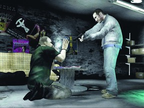 In the video game Grand Theft Auto, players steal cars, shoot innocent people and kill police.  (Gamespy.com)