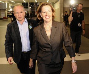 Stephen Carter, left and Alison Redford are seen here during the 2011 Tory leadership race. REUTERS/Dan Riedlhuber