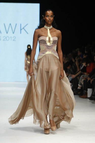 Look: A stunning blush gown with a fluttering skirt and metallic bodice that doubled as a choker. Seen at: VAWK on Oct. 20, 2011. (Mark O'Neill/QMI AGENCY)
