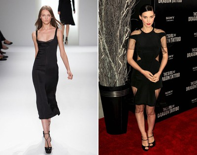 """Star: Rooney Mara.Dress: Possibly the year's most-mentioned newcomer actress, Mara seems to have kept some of the edge in her """"Girl with the Dragon Tattoo"""" character by donning provocative looks at events. This Calvin Klein dress is bold, slinky, and a little bit mysterious, perfect for the anatomical answer to last year's question, """"Who's that girl?"""" (Jeffrey Clark Grossman/PNP/WENN.com)"""