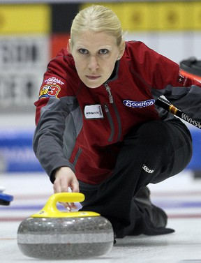 Raunora Westcott is trying to win a third straight Manitoba title with a third different team, this year playing for Barb Spencer, at 2012 the Scotties Tournament of Hearts Provincial Championship in Portage la Prairie. (BRIAN DONOGH/WINNIPEG SUN)