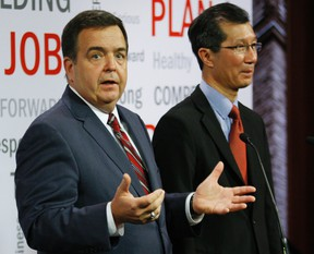 In a bizarre news conference that appeared to have been thrown together Wednesday, Tourism Minister Michael Chan and Finance Minister Dwight Duncan both scrambled to explain their blurry vision for this 51 hectares of priceless waterfront land.       (CRAIG ROBERTSON/Toronto Sun/QMI Agency)