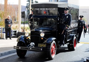 A 1938 Ford paddy wagon from the San Diego Police Historical Society and Museum arrives at the grand opening of The Mob Museum February 14, 2012 in Las Vegas, Nevada. Ethan Miller/Getty Images/AFP