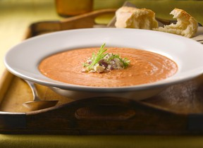 Creamy roasted tomato and fennel soup with feta cheese. (Supplied)