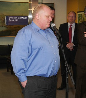 Mayor Rob Ford's weigh in outside his office April 30, 2012.   Ford also  commented on the City's surplus. (Craig Robertson/Toronto Sun)