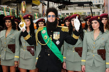 Sacha Baron Cohen dressed as Admiral General Aladeen at the world premiere of 'The Dictator' in London. (WENN.com)
