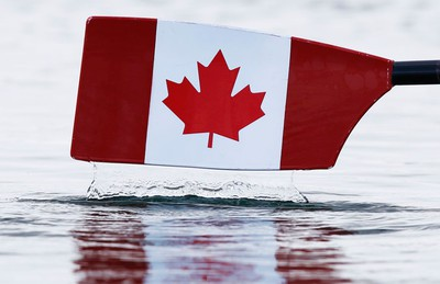 A Canadian flag is seen painted on a scull oar during the women's lightweight double sculls heat at Eton Dorney during the London 2012 Olympic Games July 29, 2012. REUTERS/Jim Young (BRITAIN  - Tags: SPORT ROWING SPORT OLYMPICS)