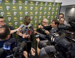 Edmonton Eskimos running back Cory Boyd speaks with media at a press conference held at Commonwealth Stadium in Edmonton on Aug. 14, 2012. (IAN KUCERAK/QMI AGENCY)