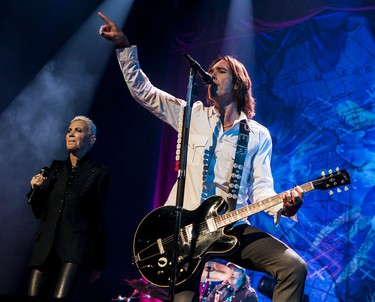 Marie Fredriksson and Per Gessle of Roxette performing at Scotiabank Place. August 29,2012 (Errol McGihon/Ottawa Sun/QMI Agency)