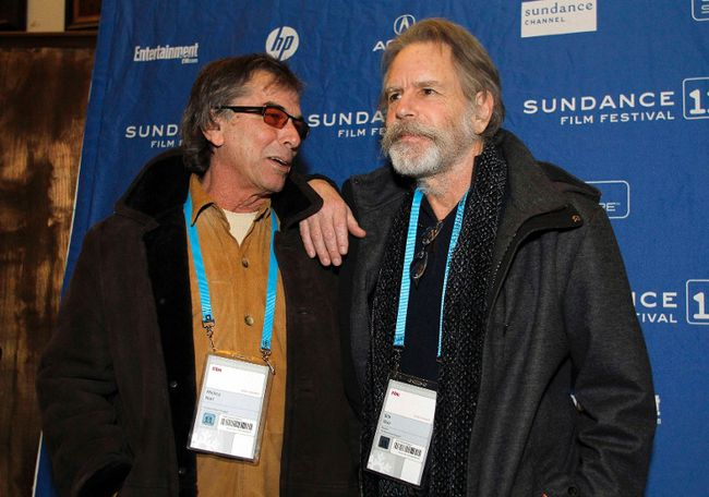 "Members of the Grateful Dead Mickey Hart, left, and Bob Weir arrive at the movie ""The Music Never Stopped"" before the film's screening during the Sundance Film Festival at the Rose Wagner Performing Arts Center in Salt Lake City, Utah January 21, 2011. (REUTERS/Jim Urquhart)"