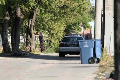 Police were called to Pritchard Avenue and Main Street around 4:40 p.m. Saturday, Sept. 15, 2012 after a concerned resident called in a �weapon seen.� (COURTESY OF HOWARD WONG)