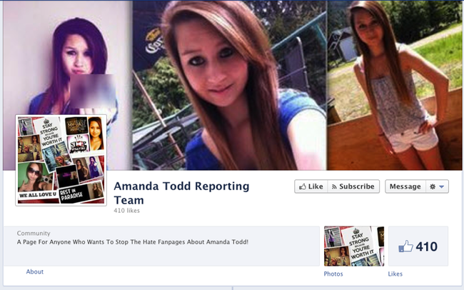 Some Facebook pages have now been created to combat bullies who continue to mock Amanda Todd days after she killed herself following years of bullying.