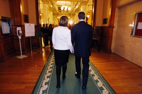 Dalton McGuinty and wife Terri walk to a Queen's Park press conference where he discussed stepping down as premier of Ontario, Monday, Oct. 15, 2012. (Craig Robertson/Toronto Sun)