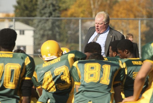 Mayor Rob Ford on the field coaching his Don Bosco Eagles football team. (Toronto Sun files)